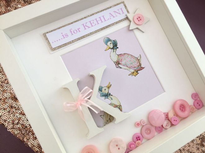 Personalised Jemima Puddle Duck Initial Box Frame